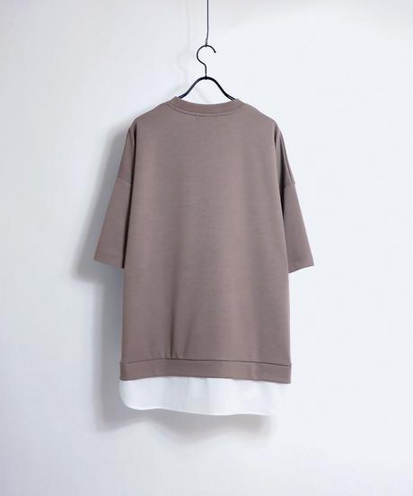 シャツレイヤードポンチTシャツ/ブラック
