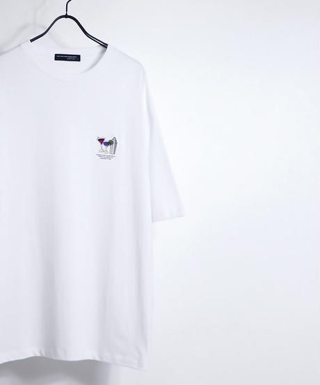 ワンポイントリップ刺繍Tシャツ /ブルー