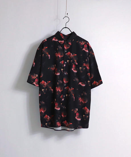総柄プリント半袖ビッグシャツ /ホワイト