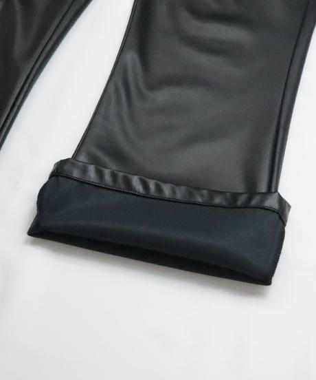 シンセティックレザーフレアパンツ /ブラック