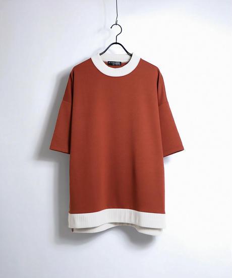 配色リブポンチビッグTシャツ /ベージュ
