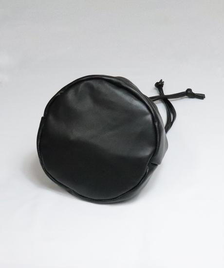 フェイクレザー2way巾着  /ブラック