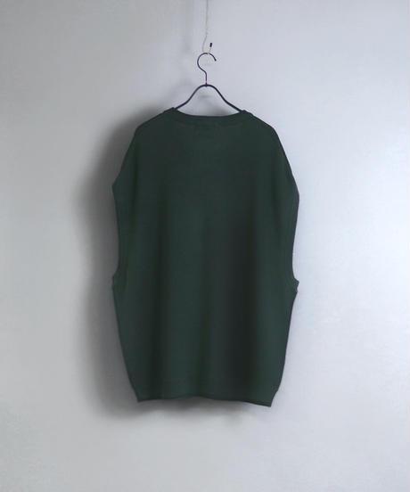 ルーズオーバーサイズニットベスト/グリーン2