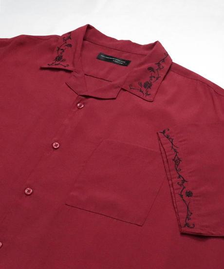 五分袖刺繍ワイドシャツ /レッド