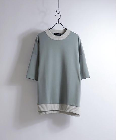 配色リブポンチビッグTシャツ /オレンジ
