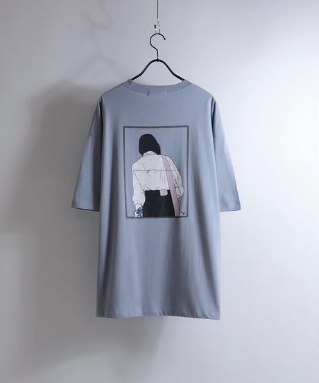 バッグガールプリントTシャツ /ホワイト