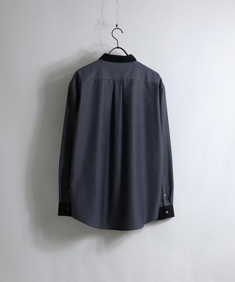 TRクレリックスナップ釦 LSシャツ /ブルー