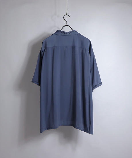 五分袖刺繍ワイドシャツ /ブルー
