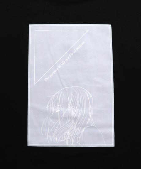 ガールズイラストビッグシルエットロンT/ブラック