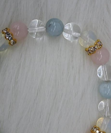 【新品】レディース 天然石 アクアマリン・ローズクォーツブレスレット(PS8)