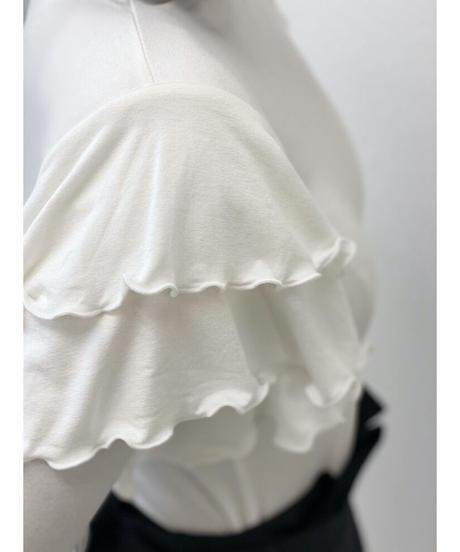 diploa | SHOULDER TIERED RUFFLE TOP | White