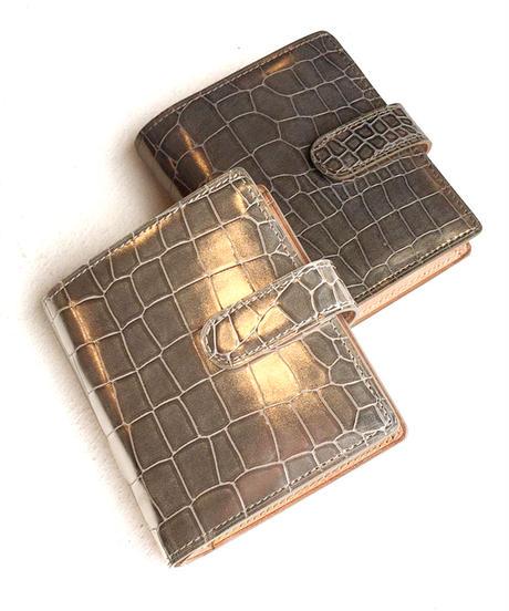 <women>isola(アイソラ)クロコ型押し・2つ折り財布・グリンゴ ブラ札 小(11506)   / ブロンズ