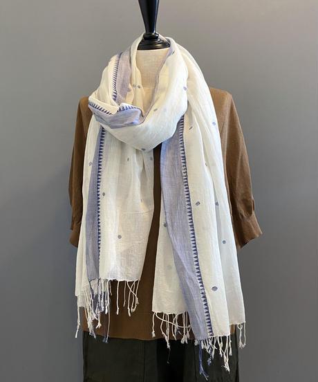 <women>yantra(ヤントラ)カディコットン・ジャムダニ織り・ストール / オフホワイト×ブルー