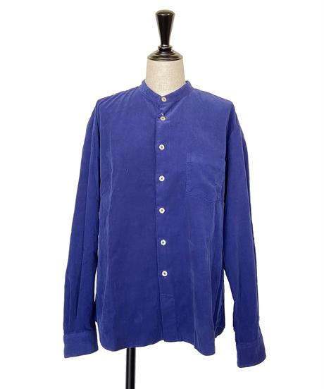 <women> MANUAL ALPHABET(マニュアルアルファベット)Loose Fitバンドカラー・コーデュロイシャツ / ブルー