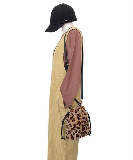 <women>VIOLAd'ORO(ヴィオラドーロ)エコファー巾着ショルダーバッグ / LEOPARD(ヒョウ柄)
