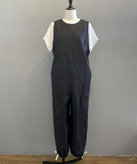 <women>Honnete(オネット) New Jumpsuit リネンジャンプスーツ / ブラック
