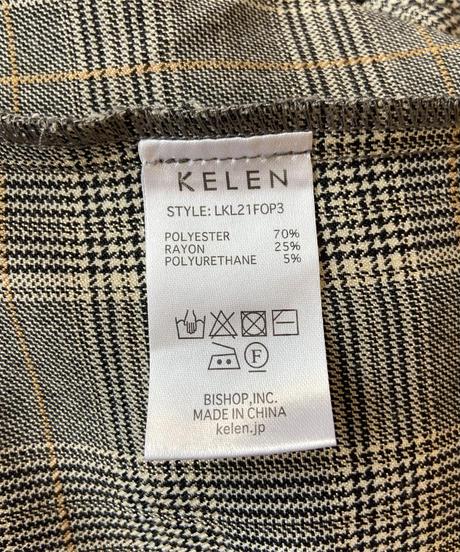 <women> Kelen(ケレン)グレンチェックバンドカラー長袖シャツワンピース / GRAY