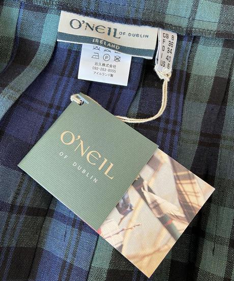 <women>O'NEIL OF DUBLIN(オニール・オブ・ダブリン) 春夏リネンキルトスカート / blackwatch(ブラックウォッチ)ネイビーチェック