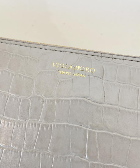 <women>VIOLAd'ORO(ヴィオラドーロ) クロコ型押しウォレット・L字長財布(V-5055)  / GRAY×YELLOW