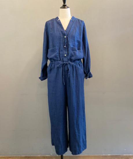 <women>Porter des boutons(ポルテデブトン) リネンインディゴ染めオールインワン2021 / 藍染