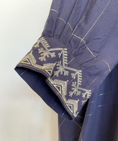 <women>ne Quittez pas(ヌキテパ)ポプリンチェック刺繍シャツワンピース / Navy