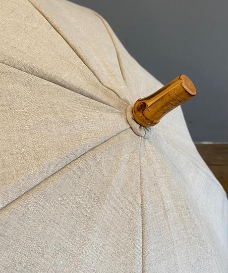 <women>sur mer(シュールメール) 赤耳リネン×バンブーハンドル 日傘 長傘 / ナチュラル