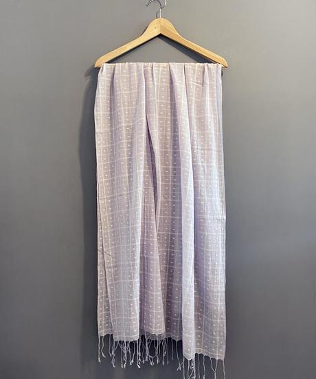 <women>yantra(ヤントラ)カディコットン・ジャムダニ織り・ストール / ラベンダー