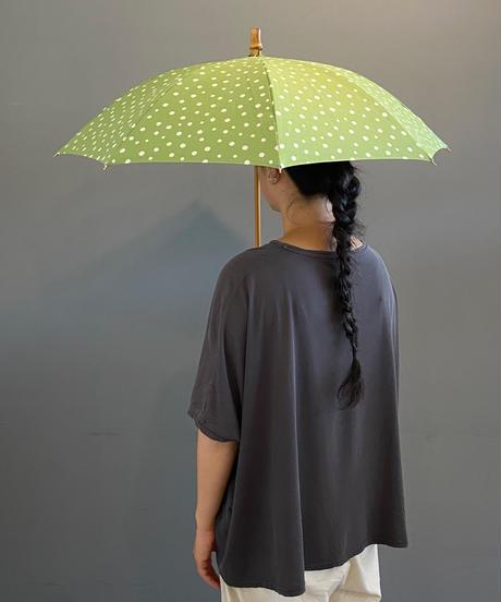 <women>sur mer(シュールメール) ドット柄コットンリネン×バンブーハンドル 日傘 長傘 / グリーン