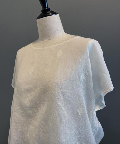 <women>bunai(ブナイ)カディコットン・ジャムダニ織り・半袖ブラウス / オフホワイト