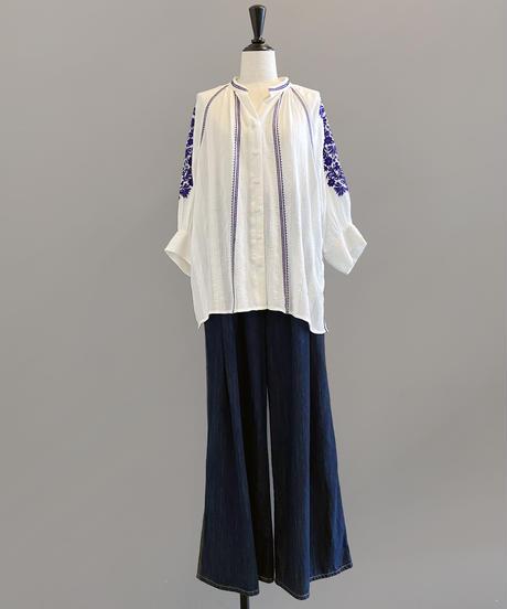 <women>ne Quittez pas(ヌキテパ)刺繍8分袖ブラウス / オフホワイト
