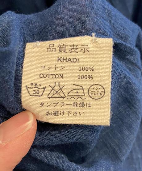 <women>bunai(ブナイ)カディコットン・インディゴ染め・長袖ワンピース  / インディゴブルー