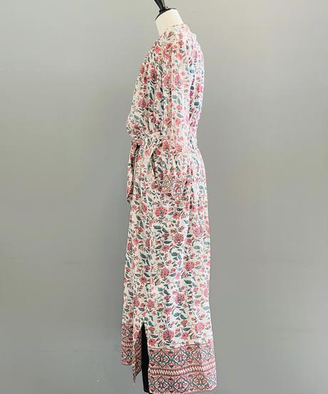 <women>ne Quittez pas(ヌキテパ)エスニックプリント前開きワンピース・ガウンドレス(010411GG2) / ピンク