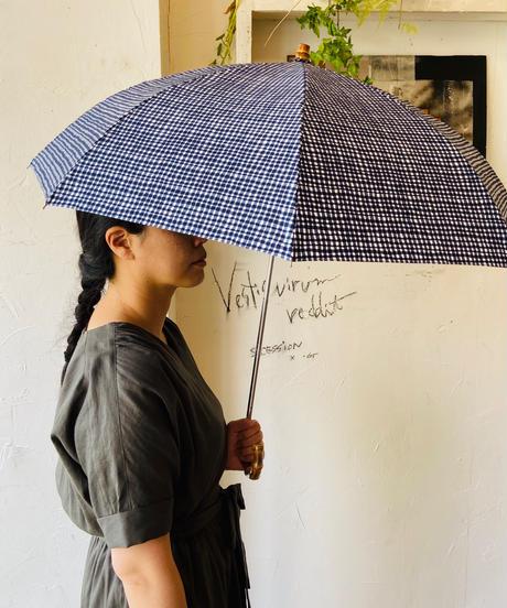 <women>Bon Bon Store(ボンボンストア) ドローイングチェック 折り畳み傘(晴雨兼用)/ネイビー