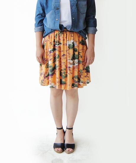 <women>Audrey and JohnWad(オードリーアンドジョンワッド)リゾート柄プリントギャザースカート / オレンジ