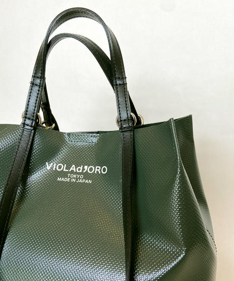 <women>VIOLAd'ORO(ヴィオラドーロ)ターポリン2WAYトートバッグ / GREEN