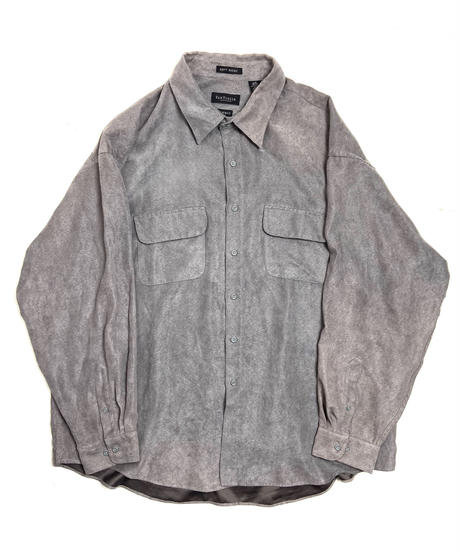 90s Van Heusen Fake Suede Long Sleeve Shirt Grey