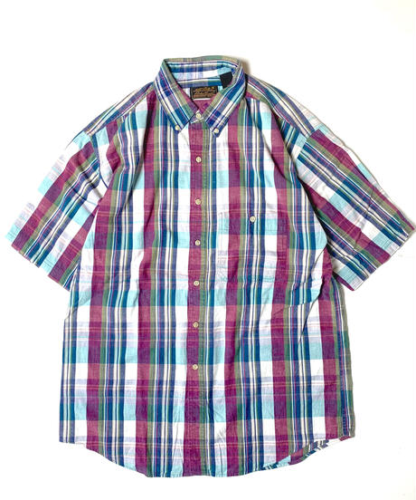 80s Eddie Bauer Madras Check Shotsleeve Shirt