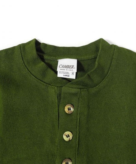 Camber Three Button Henley Olive