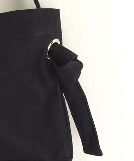Canvas Shoulder Tote  (Black×Black)
