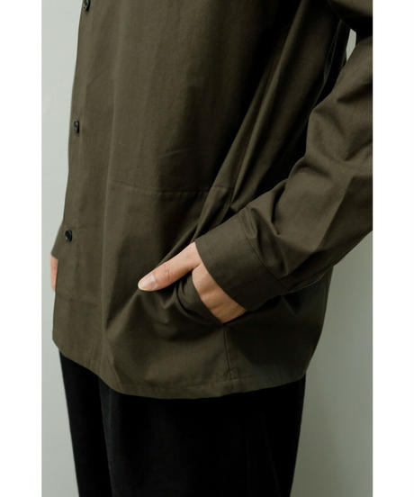 THE HINOKI / Cotton Parachute Cloth regular collar shirt / col.OLIVE BROWN