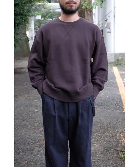 ULTERIOR / SUVIN COTTON BULKY TERRY SWEAT SHIRT / col.FOGGY BLACK