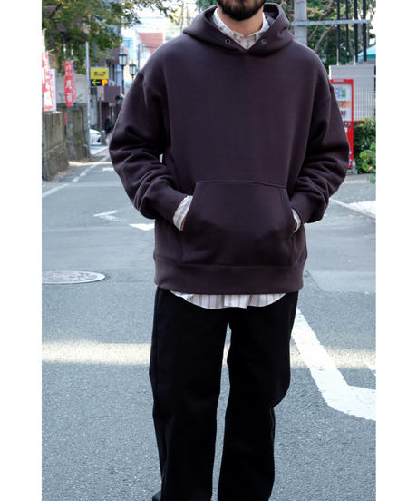 ULTERIOR / SUVIN COTTON BULKY TERRY HOODIE / col.FOGGY BLACK