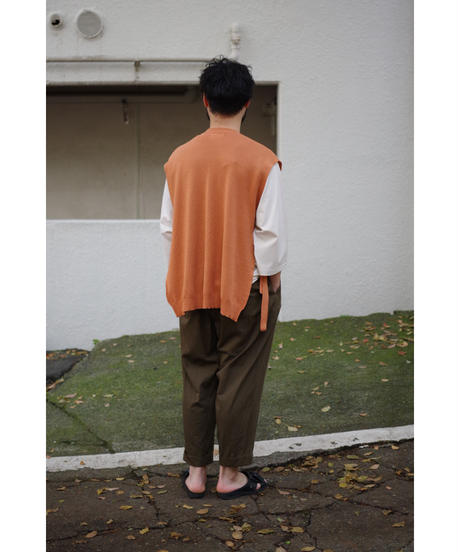 bunt / FINE COTTON TAPE KNIT VEST / col.BRICK / Men's