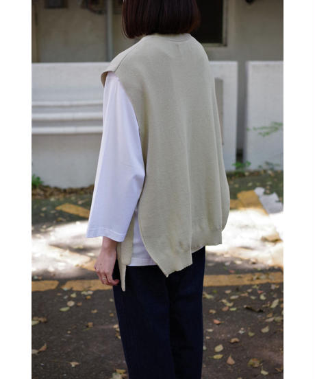 bunt / FINE COTTON TAPE KNIT VEST / col.BEIGE / Lady's