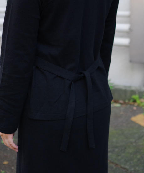 THE HINOKI / オーガニックコットン ロングスリーブ レイヤードドレス / col.ブラック
