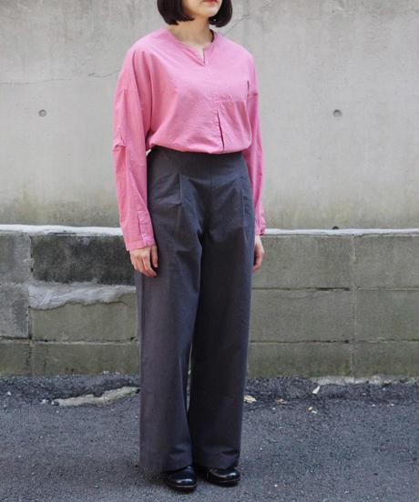 THE HINOKI / 先染めコットンバフクロス OSFAワイドパンツ / col.ダークグレー / Lady's