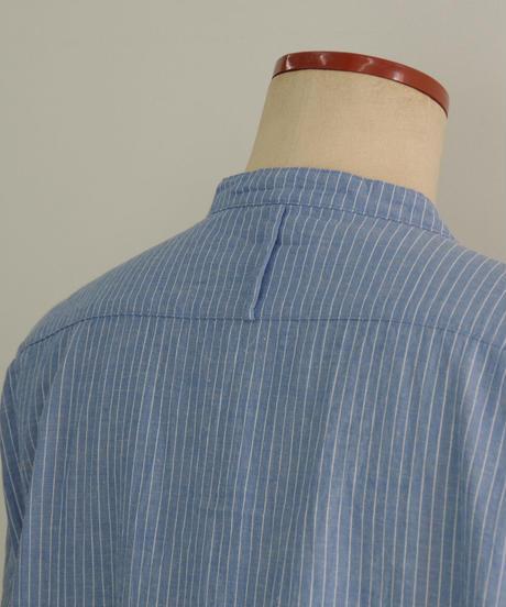 Vlas Blomme / Cotton Stripe ロングシャツワンピース / col.サックスブルー