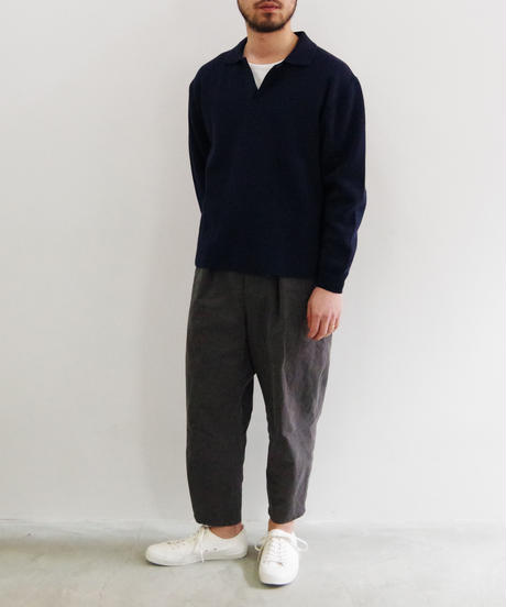 bunt / COTTON SKIPPER NECK SWEATER / col.ネイビー