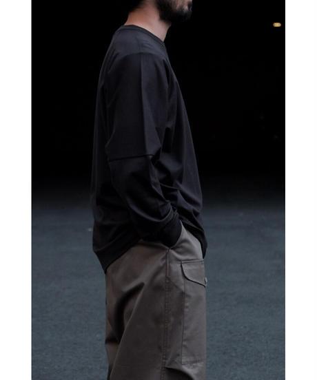 ULTERIOR / SUVIN COTTON L/S POCKET TEE / col.FOGGY BLACK