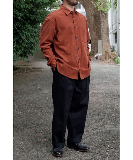 ULTERIOR / BIZEN No'1 TWILL TUCKED MILITARY PANTS / col.MIDNIGHT / size.4